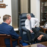 U.S. Senators John Thune and Tim Johnson met with U.S. Secretary of the Air Force Deborah James to discuss the expansion of the Powder River Training Complex. (thune.senate.gov)