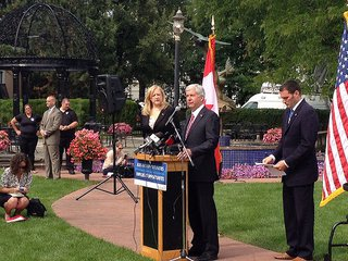 Governor Rick Snyder joined by Canada Minister of Transport Lisa Raitt. (Photo courtesy Governor Snyder's office.)