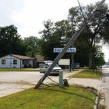 Utility pole damaged by accident on US 12 near Munson Street in Coldwater July 31, 2014