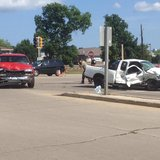 Police respond to major crash at Main and Pecan Streets in Green Bay on August 5, 2014. (Photo Copyright Midwest Communications, Inc.)