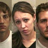 L-R: Adam Bishop, Amanda Hanstad, Nicholas Hanstad. (Photo from: Winnebago County Jail).