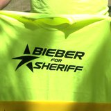 Bieber for Sheriff shirts for sheriff race in Shawano County. (Photo from: FOX 11).