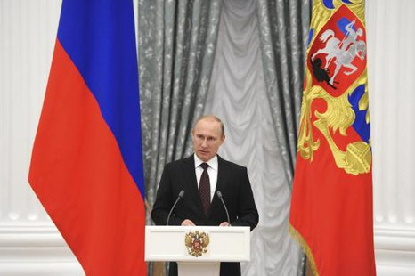 Russian President Vladimir Putin delivers a speech during a meeting at Kremlin in Moscow July 31, 2014. CREDIT: REUTERS/MIKHAIL KLIMENTYEV/RIA NOVOSTI/KREMLIN