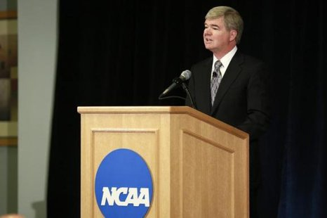 President of the National Collegiate Athletic Association (NCAA) Mark Emmert speaks during a news conference at the NCAA headquarters in Indianapolis July 23, 2012. CREDIT: REUTERS/BRENT SMITH