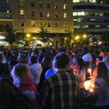 Hundreds gather at the 400 Block for a candlelight vigil to remember victims of a SUV rollover crash (Midwest Communications 2014)