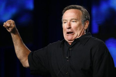 "Robin Williams gestures during a panel discussion for his upcoming HBO show ""Robin Williams: Weapons of Self-Destruction"" at the Television Critics Association Cable summer press tour in Pasadena, More... CREDIT: REUTERS/MARIO ANZUONI"