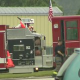 Fire crews respond to a gas leak in Two Rivers on Monday Aug. 18, 2014. (Photo from: FOX 11/YouTube).