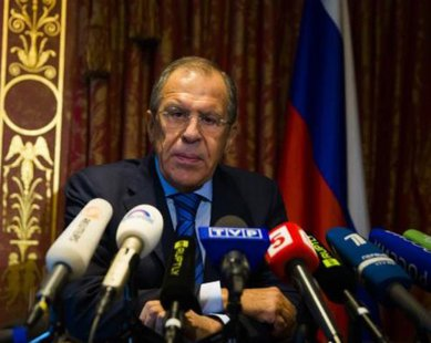Russian Foreign Minister Sergei Lavrov speaks during a news conference in Berlin, August 18, 2014. REUTERS/Thomas Peter
