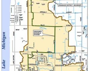 A portion of the proposed Park West Drain District Map (courtesy Park Township)