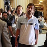 U.S. journalist James Foley (R) arrives with fellow reporter Clare Gillis (not pictured), after being released by the Libyan government, at Rixos hotel in Tripoli, in this picture taken May 18, 2011. Picture taken May 18, 2011. CREDIT: REUTERS/LOUAFI LARBI