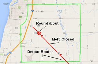 Closed road is depicted in red, detours are depicted in green.  The lake is blue, and if that is where you are headed this weekend, allow an extra ten to 15 minutes of travel time. (Map courtesy of MDOT).