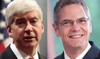 Governor Rick Snyder and former Congressman Mark Schauer. (photos supplied by the candidates)