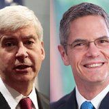 Incumbent Governor Rick Snyder and Democratic challenger Mark Schauer.  (photos courtesy the Snyder and Schauer campaigns)