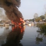 Fire at Quarterdeck Marina in Door County on August 25, 2014. (Photo from: FOX 11).