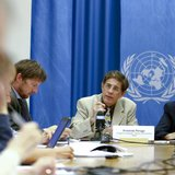 Armando Peruga (C), Programme Manager of Tobacco Free Initiative of the World Health Organization (WHO) and Douglas Bettcher (R), WHO's Director of the department for Prevention of Noncommunicable Diseases, speak during a press briefing at the United Nations in Geneva, August 26, 2014. CREDIT: REUTERS/PIERRE ALBOUY