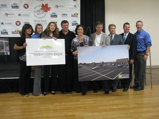 Owners, Visitor & Convention Bureau staff, and Secretary Stephanie Klett promoting new ownership of Cedar Creek Mall 8/26/14