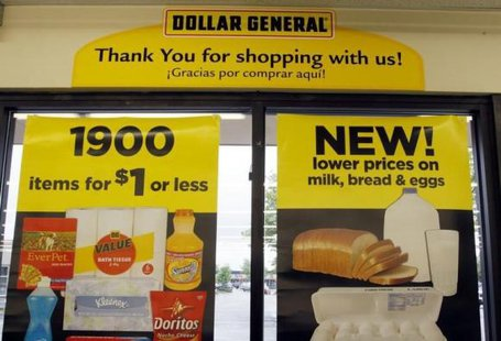 A price sign at a Dollar General store in Arvada, Colorado June 2, 2009. CREDIT: REUTERS/RICK WILKING