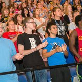 New students at Indiana State University during a convocation program in Hulman Center Aug. 17, 2014.