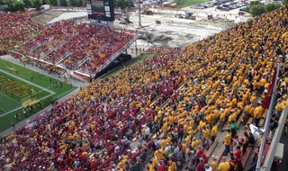 NDSU fans showed up in force to support the Bison traveling to Ames, Iowa for the Iowa State game Saturday August 30th, 2014.  Photo courtesy of KFGO's Mike McFeely.