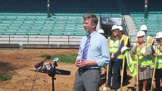 Mayor Ness at Wade Stadium renovation groundbreaking ceremony