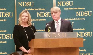 North Dakota State Board of Higher Education Chair Kirsten Diederich and Interim Chancellor Larry Skogen