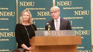 North Dakota State Board of Higher Education Chair Kirsten Diederich and Interim Chancellor Larry Skogen