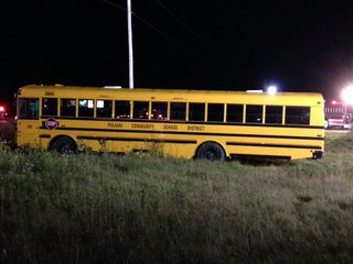 Pulaski school bus carrying the high school's volleyball team involved in a crash with a car on September 2, 2014. (Photo from: FOX 11).