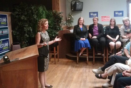 National Democratic chairwoman Debbie Wasserman-Schultz joins local officials at a rally at the Wausau Labor Temple, September 3, 2014 (photo credit: Raymond Neupert WSAU)