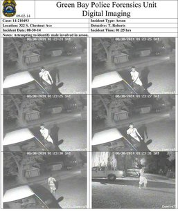 These still frames taken from surveillance video show a person who allegedly tried to break in to vehicles, then started a garage on fire in the 300 block of S. Chestnut Ave. in Green Bay, Aug. 30, 2014. (Photo from: Green Bay Police Department).