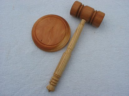 Gavel & Stryker, made from Cherry & Ash, sold to Whitney Hoffman. (Photo By KeithBurtis (Flickr: Gavel & Stryker) [CC-BY-2.0 (http://creativecommons.org/licenses/by/2.0)], via Wikimedia Commons)
