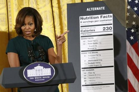 U.S. first lady Michelle Obama unveils proposed updates to nutrition facts labels during remarks in the East Room of the White House in Washington, February 27, 2014. CREDIT: REUTERS/JONATHAN ERNST