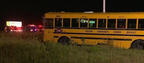 A crash involving a car and a Pulaski school bus kills one woman and injures 14 others Tuesday night on Highway 29. (Photo from: FOX 11/YouTube).