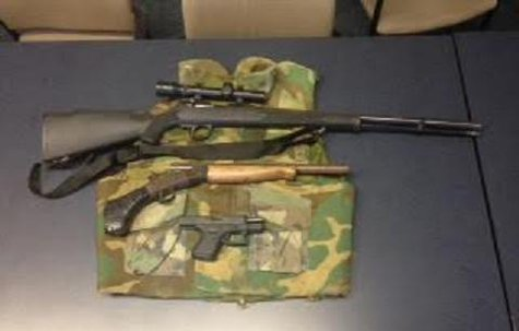 The weapons seized from a crack cocaine den on Hotop.  (Photo supplied by KVET)
