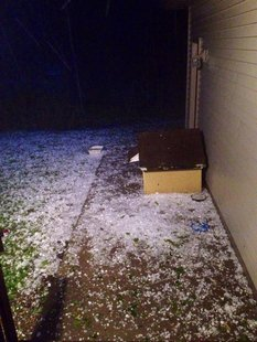Hail as big as golf balls fell in the Barnesville area.  (Photo:   Jesse Grabow)