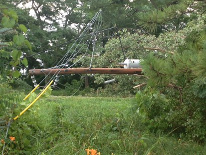 A broken power pole from storms that rolled through north central and northeast Wisconsin. (Photo submitted by Wisconsin Public Service).