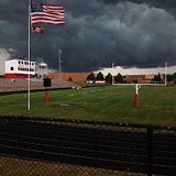 Storm clouds over Cardinal Stadium at Coldwater High School September 5, 2014 (photo courtesy of Michelle Volkmer)