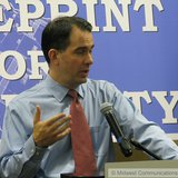 Wisconsin Governor Scott Walker in Wausau. (Photo Copyright Midwest Communications, Inc.)