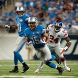 Sep 8, 2014; Detroit, MI, USA; Detroit Lions wide receiver Golden Tate (15) runs the ball during the fourth quarter against the New York Giants at Ford Field. Detroit won 35-14. Tim Fuller-USA TODAY Sports