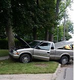 Pick-up truck accident on Chicago Street near Lincoln Street, Coldwater on September 10, 2014 (photo credit: Jim Whelan, WTVB)