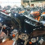 Motorcycles sit on display in the showroom at Harley-Davidson of Wausau, May 9, 2014 (photo: Raymond Neupert, WSAU)