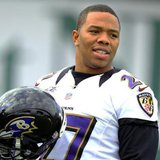 It wasn't that long ago that Baltimore Ravens running back Ray Rice was warming up for Super Bowl XLVII in New Orleans, Louisiana January 30, 2013.    Now he's suspended from the league. Credit: Reuters/Sean Gardner