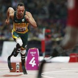 South Africa's Oscar Pistorius (L) starts in the men's 400m - T44 final in the Olympic Stadium at the London 2012 Paralympic Games September 8, 2012. CREDIT: REUTERS/SUZANNE PLUNKETT