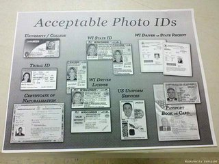 Display showing acceptable forms of photo identification for voting in Wisconsin during a 2012 election. (Photo from: FOX 11).