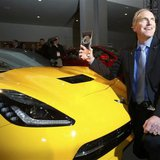 Tadge Juechter, chief engineer for the Corvette, poses with the Car of the Year Award next to a Chevrolet Corvette Stingray during the press preview day of the North American International Auto Show More... Credit: REUTERS/Rebecca Cook