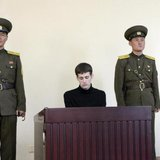 U.S. citizen Matthew Todd Miller sits in a witness box during his trial at the North Korean Supreme Court in this undated photo released by North Korea's Korean Central News Agency (KCNA) in Pyongyang September 14, 2014. Credit: Reuters/KCNA