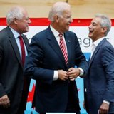 U.S. Vice President Joe Biden (C) shares a laugh with Chicago Mayor Rahm Emanuel (R) and Illinois Governor Pat Quinn after a round table discussion with small business owners on raising the minimum wage in Chicago, Illinois, August 25, 2014. REUTERS/JIM YOUNG
