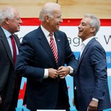 U.S. Vice President Joe Biden (C) shares a laugh with Chicago Mayor Rahm Emanuel (R) and Illinois Governor Pat Quinn after a round table discussion with small business owners on raising the minimum wage in Chicago, Illinois, August 25, 2014. CREDIT: REUTERS/JIM YOUNG
