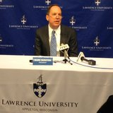 Lawrence University President Mark Burstein announces a $25 million donation to the university, Sept. 17, 2014. (Photo from: FOX 11).