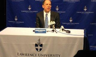 Lawrence University President Mark Burstein announces a $25 million donation to the university, Sept. 17, 2014. (Photo from: FOX 11).