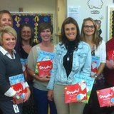 Kindergarten teaching staff at Max Larsen Elementary, Coldwater, Michigan holding donated books (photo credit: Coldwater Community Schools)